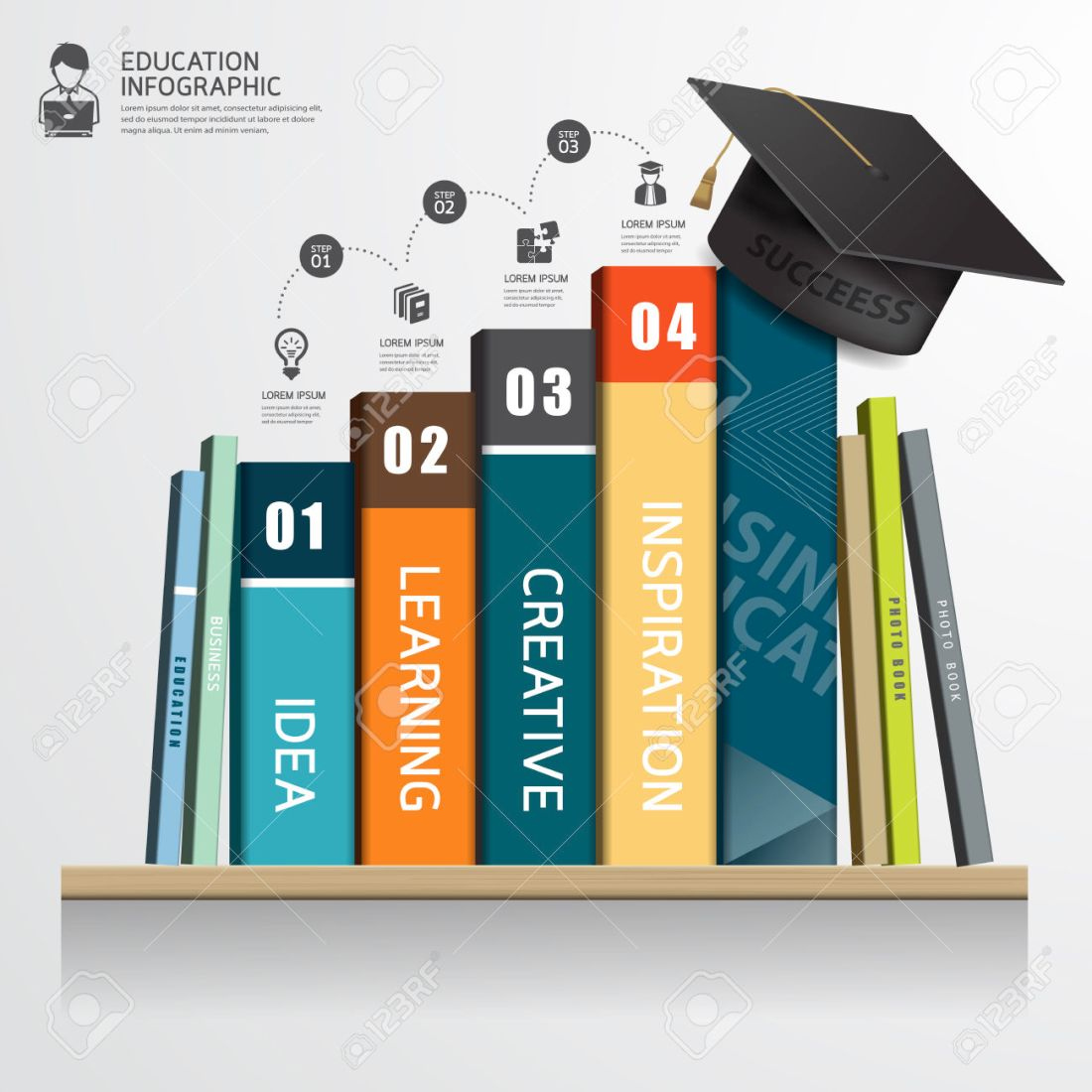 37451423-vector-infographic-success-education-concept-row-of-books-and-graduation-cap-on-shelf-stock-vector